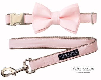 Blush Layered Dog Bow Tie Collar and Leash - Dusty Pink - By Poppy Parker - Dog of Honor