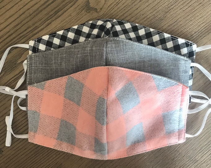 Fall Pink Plaid Gray Black Gingham 3 Pack, cotton face mask 2 pack, fabric mask, adjustable straps