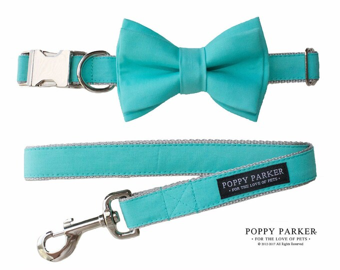 Aqua Dog Collar with Removable Layered Bow Tie - Dog Of Honor - Spa