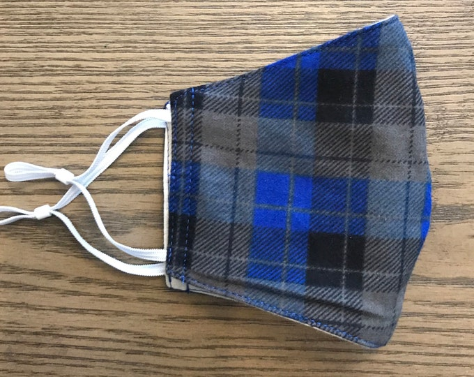Navy Gray Plaid Flannel Face mask