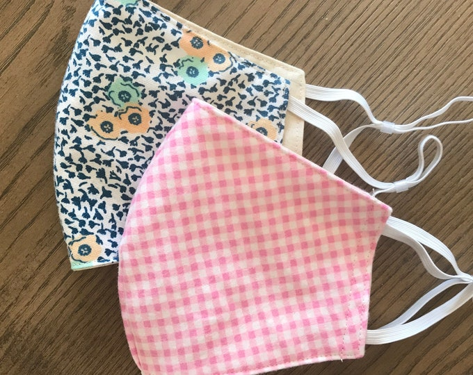 Pink and Flower Pack, cotton face mask 2 pack
