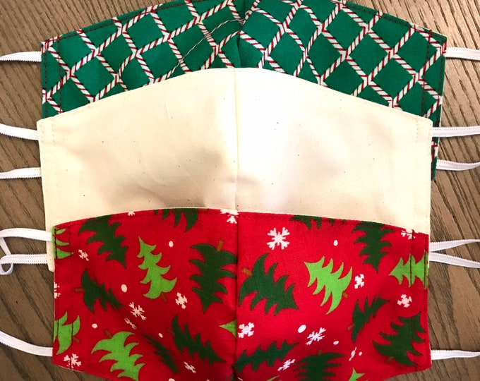 Festive Christmas Pattern 3 Pack, cotton face mask, fabric mask, adjustable straps, trees, tan, green candy cane