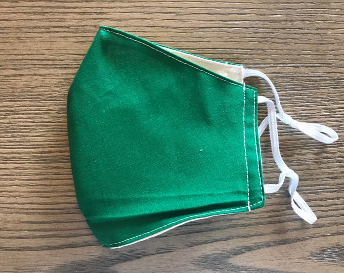 Green and Taupe Face mask, cotton face mask, fabric mask, adjustable straps