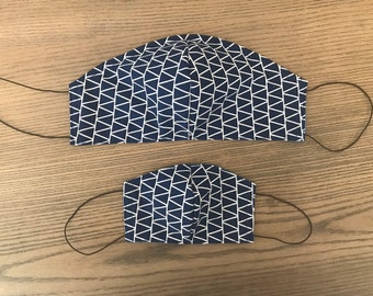 Father Son Twinning Navy Geometric Face Mask  With Adjustable Ear Loop Set