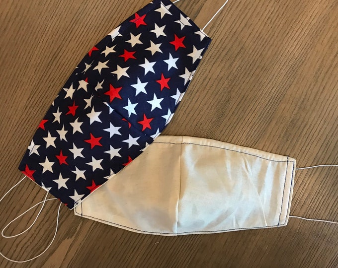 Double Sided Patriotic Navy Stars and Taupe Face mask, cotton face mask, fabric mask, no filter pocket, metal nose piece, adjustable straps