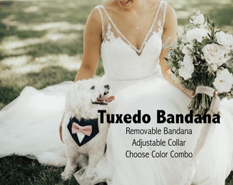 Wedding Dog Tuxedo Bow Tie Bandana With Matching Bow Tie and Collar - Black with Blush Shown - Choose Your Colors
