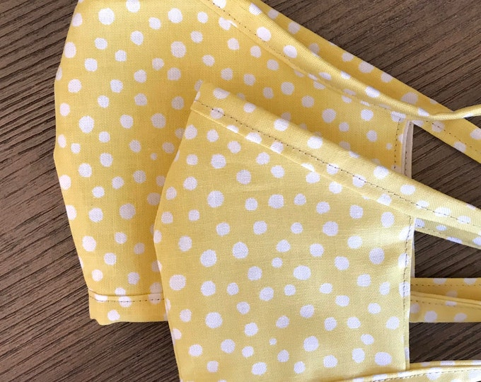 Mother Daughter Twinning Yellow Polka Dot and Tan Face Mask  With Adjustable Ear Loop Set