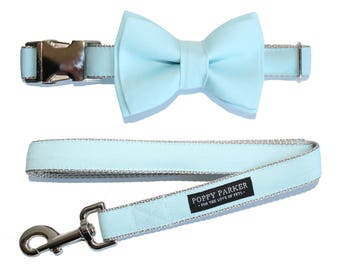Baby Blue Dog Collar with Removable Layered Bow Tie by Poppy Parker Market - Light Capri Blue