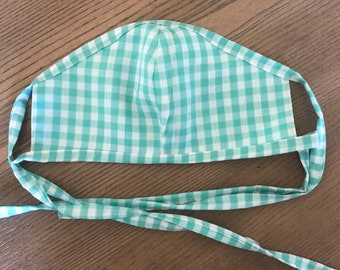 Adult Reversible Teal Mint Gingham Face Mask With Tie, cotton face mask, fabric mask