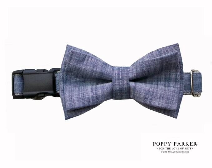 Blue Chambray Layered Dog Bow Tie - Wedding Dog Ring Bearer
