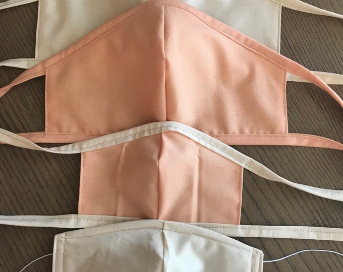 Family Variety Tan Plain Peach Face Mask With Tie 3 Sizes, Reversible, Soft Cotton