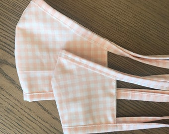 Mother Daughter Twinning Blush Gingham Tan Face Mask  With Adjustable Ear Loop Set