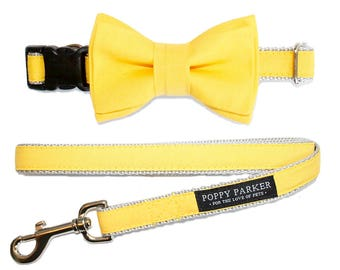 Layered Dog Bow Tie - Bright Sunflower Yellow - Dog of Honor
