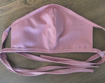 Adult Double Sided Mauve Pink Face Mask With Tie, cotton face mask, fabric mask