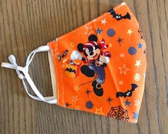 Orange Halloween Mickey Mouse Face mask