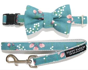 Spring Teal Floral Dog Bow Tie Matching Leash - Trending Dog