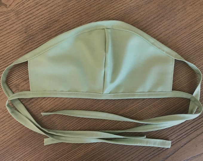 Adult Reversible Sage and Tan Face Mask With Tie, cotton face mask, fabric mask