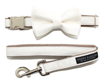 Layered Dog Bow Tie - Ivory Linen - Wedding Dog of Honor