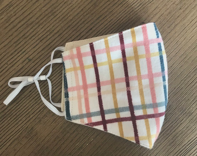 Soft Pink Fall Flannel Plaid Face mask