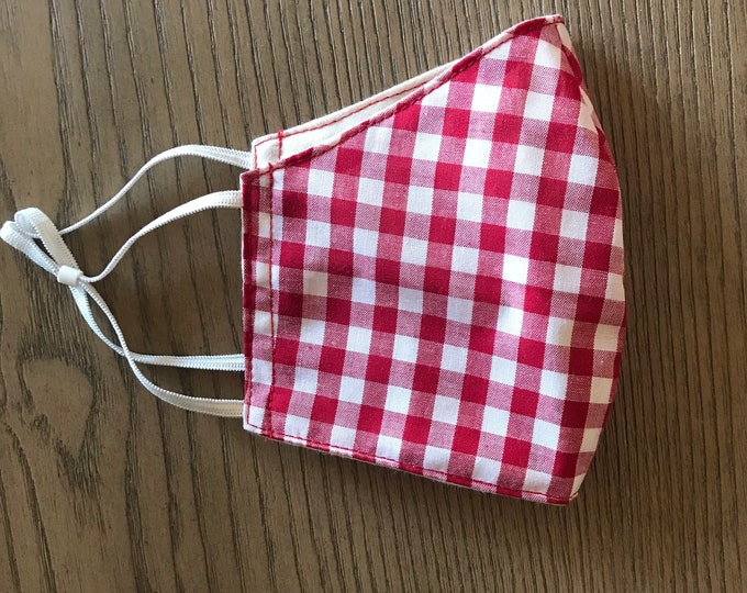 Red gingham Plaid check Face mask, christmas mask