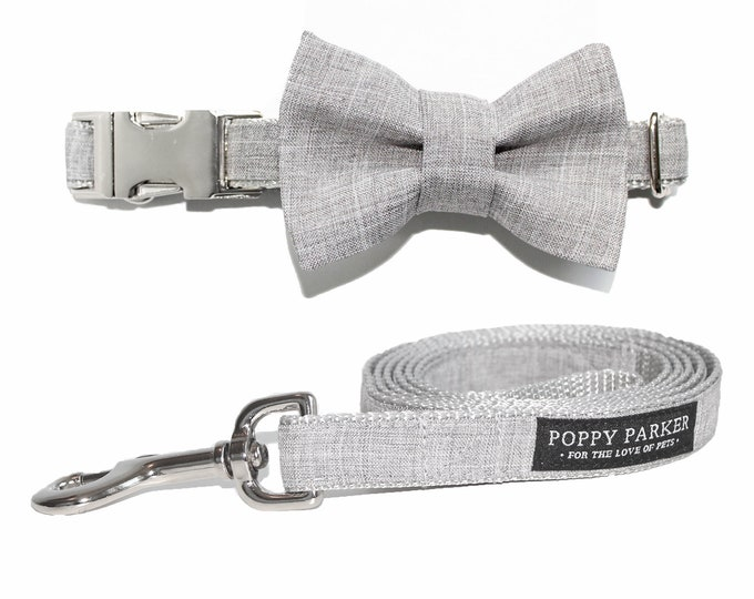 Light Gray Suit Dog Bow Tie With Matching Dog Leash - Dog In Wedding