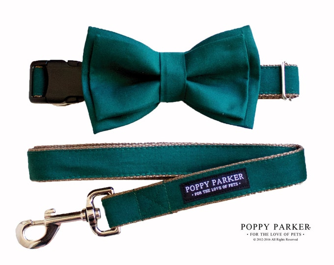 Layered Dog Bow Tie - Hunter Green Juniper - Matching Collar and Leash