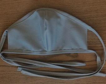 Adult Double Sided Sky Blue Face Mask With Tie, cotton face mask, fabric mask