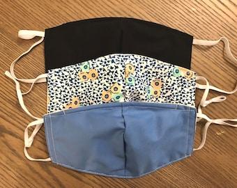 Blue Black Flower 3 Pack, cotton face mask 3 pack, fabric mask, adjustable straps