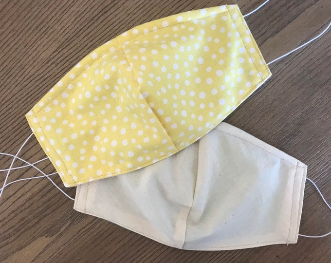Double Sided Pale Yellow Polka Dot and Taupe Face mask, cotton face mask, fabric mask, no filter pocket, metal nose piece, adjustable straps