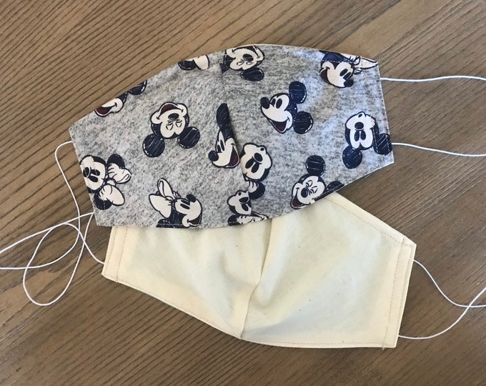 Double Sided Gray Mickey Disney Theme Face mask, cotton face mask, fabric mask, no filter pocket, metal nose piece, adjustable straps