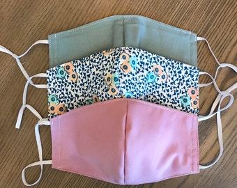 Blue Mauve Flower 3 Pack, cotton face mask, fabric mask, adjustable straps