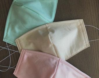 Pink Mint Pastel Variety Set of 3 Face masks, cotton face mask, no filter pocket, metal nose piece
