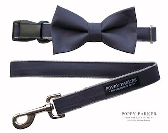 Charcoal Gray Removable Dog Bow Tie Collar Leash - Pewter - Dog of Honor