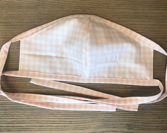 Adult Double Sided Light Pink Blush Gingham Face Mask With Tie, cotton face mask, fabric mask