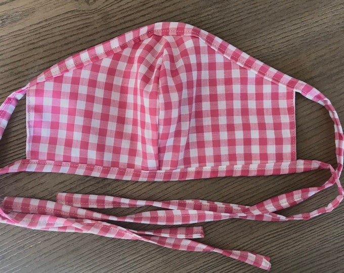 Adult Reversible Pink Gingham Face Mask With Tie, cotton face mask, fabric mask