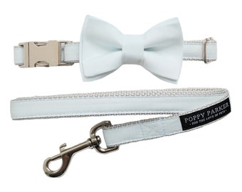 Pale Blue Dog Collar with Removable Layered Bow Tie by Poppy Parker Market - Light Blue