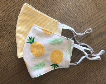 Yellow Pineapple 2 Pack, cotton face mask 2 pack, fabric mask, adjustable straps