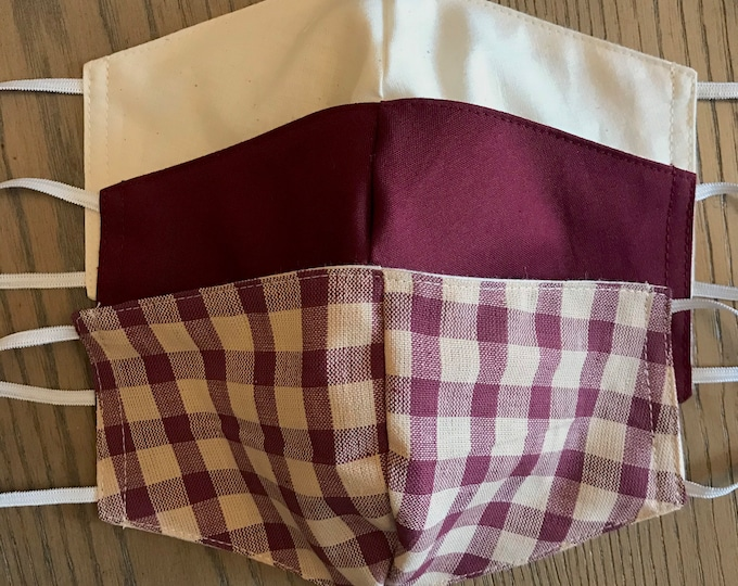 Crimson Tan Fall Plaid Gingham Colors 3 Pack