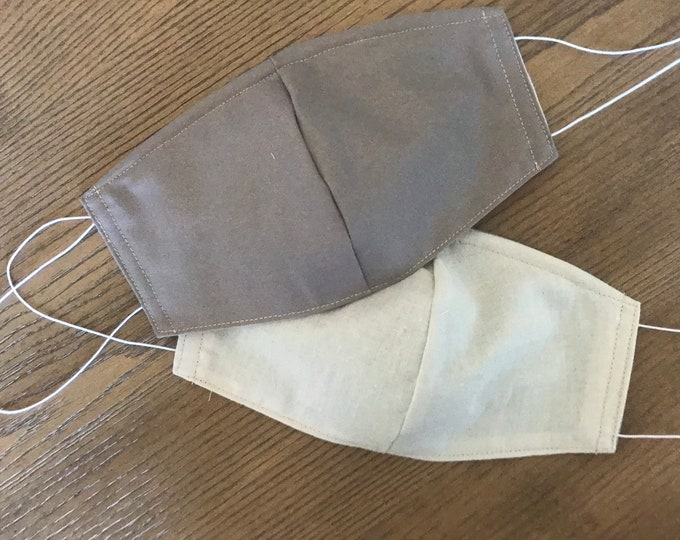 Double Sided Dark Gray Face mask, cotton face mask, fabric mask, no filter pocket, metal nose piece, adjustable straps
