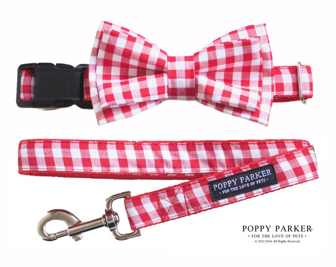 Red Gingham Layered Dog Bow Tie Leash - Christmas Dog Collar