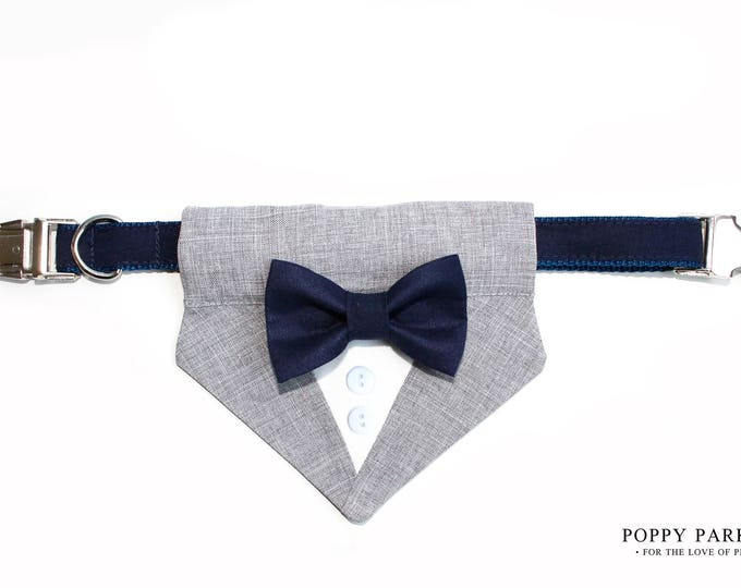 Wedding Dog Tuxedo Bow Tie Bandana With Matching Bow Tie and Collar - Choose Your Color - Formal Pet Attire