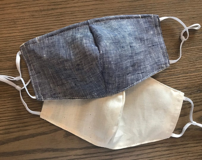 Double Sided pale Blue Chambray and Tan Face mask, cotton face mask, fabric mask, no filter pocket, metal nose piece, adjustable straps