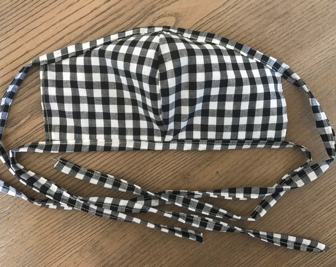 Adult Reversible Black and White Gingham Face Mask With Tie, cotton face mask, fabric mask