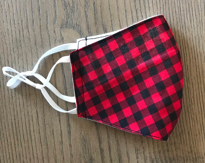 Red black buffalo Plaid check Face mask, christmas mask