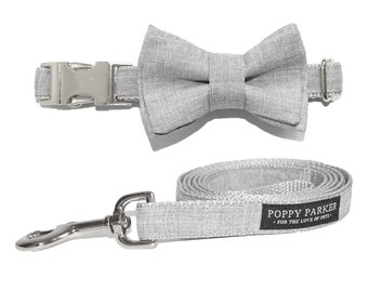 Layered Dog Bow Tie - Light Gray Suit - Dog In Wedding