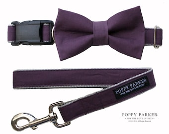 Original Plum Dog Bow Tie With Matching Leash - Wine Eggplant Lapis Deep Purple - By Poppy Parker