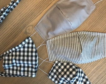 Family Variety Face Mask Set Gray Black Tones Face Mask With Tie and Elastic, 4 Sizes, Reversible, Cotton