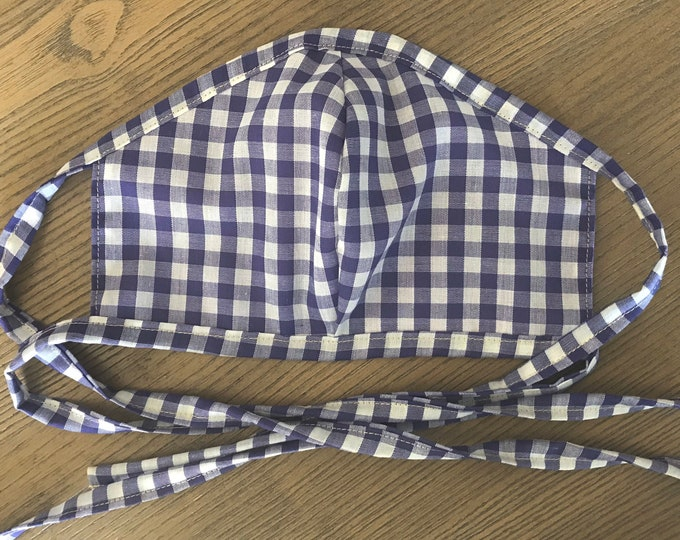 Adult Reversible Purple Gingham Face Mask With Tie, cotton face mask, fabric mask