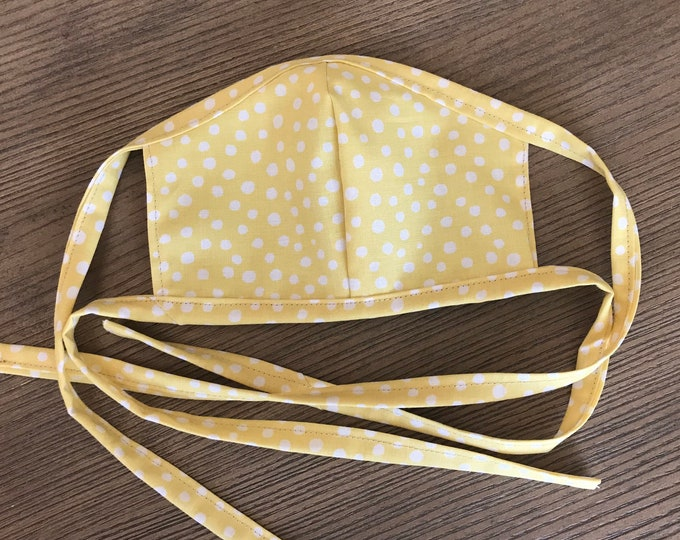 Adult Reversible Yellow Polka Dot and Tan Face Mask With Tie, cotton face mask, fabric mask
