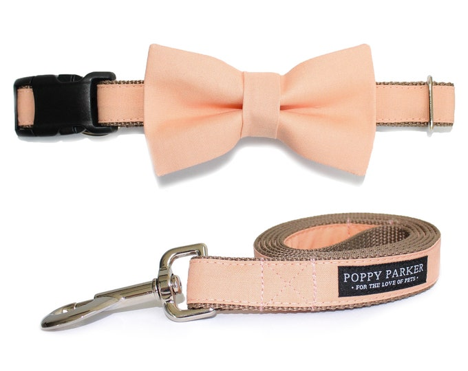 Peach Dog Bow Tie Collar and Leash - Bellini Pastel - Dog Of Honor